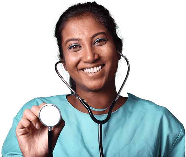 happy nurse holding stethoscope